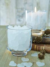 Filled Glass Hurricane Lamp - Smiling Hearts