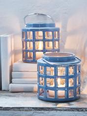 Ceramic Hurricane Lantern - Sky Blue