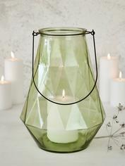 Geometric Glass Lantern - Green