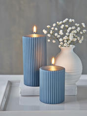 Rilled Pillar Candles - Petrol Blue