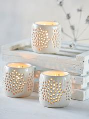 Pierced Ceramic Tealight Holder