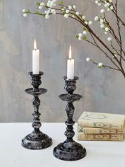 Marbled Candleholder - Charcoal