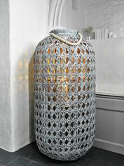 Whitewashed Bamboo Lantern - Grey XXL