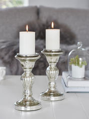 Mercury Silver Pillar Candle Holder - M