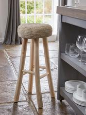 Hand-Crafted Teak Bar Stool