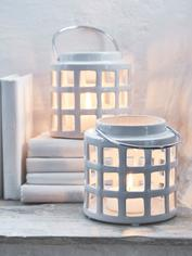 Off-White Ceramic Lantern