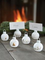 Six Bauble Name Place Holders - Gold