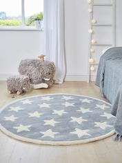 Luxurious Round Star Rug - Grey