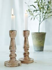 Dusty Pink Wooden Candle Holder