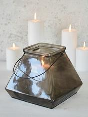 Square Glass Lantern - Smoke Grey