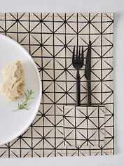 Geometric Print Placemats - Ivory
