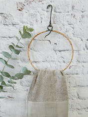 Round Wrought Iron and Bamboo Hanger