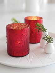 Red Embossed Tealight Holders