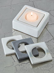 Square Ceramic Tealight Holder - White