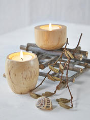 Natural Wood Tealight Holders