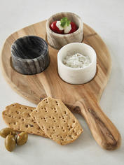 Teak and Marble Tapas Board