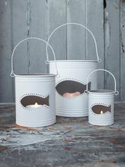 Fish Hurricane Lanterns - White