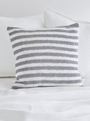 Knitted Grey Cushion - Narrow Stripe
